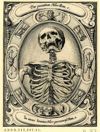 Memento mori woodcut by Alexander Mair, 1605