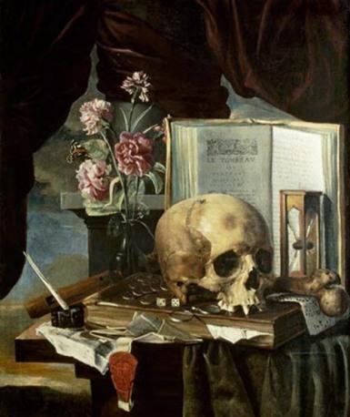 Vanitas Still Life by Simon Renard de Saint-André, middle of the 17th century.